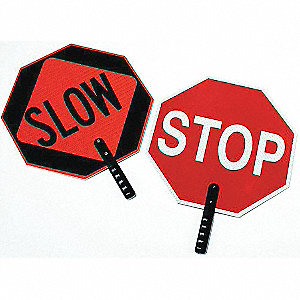 Paddle Sign,Stop/Slow,Plastic