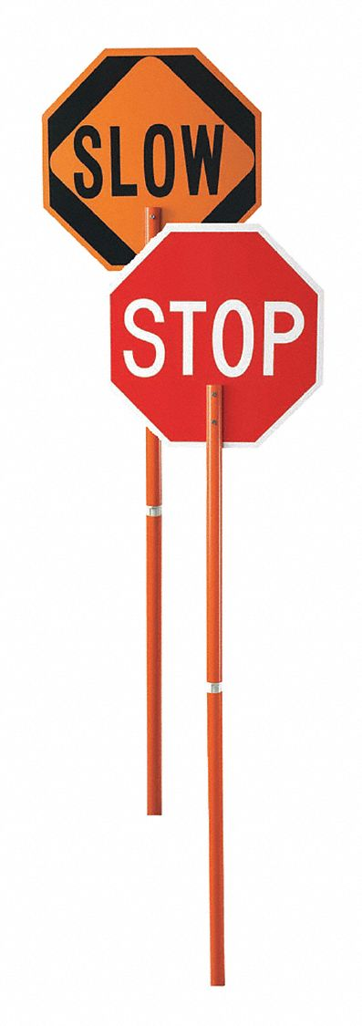 W,Stop//Slow Red//Orange ST-SL GRAINGER APPROVED Paddle Sign,18 In