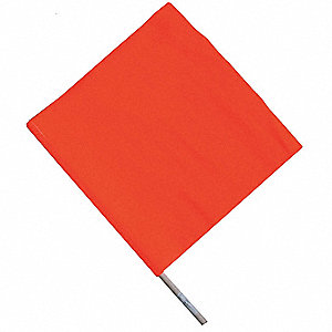 Handheld Warning Flag,Orange,18x18In