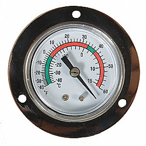 Analog Panel Mt Thermometer,-40 to 60F