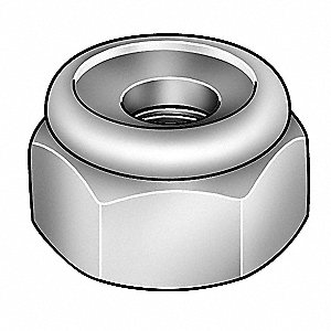 "1""-8 Nylon Insert Lock Nut, Plain Finish, 18-8 Stainless Steel, Right Hand, IFI-100/107, EA1"