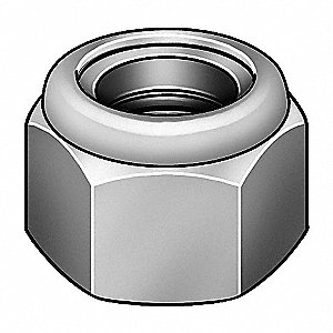 Lock Nut,1-1/2-12,Gr 8,Steel,Zinc Yellow