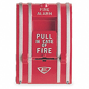 Fire Alarm Pull Station,Red,L 3 1/8 In