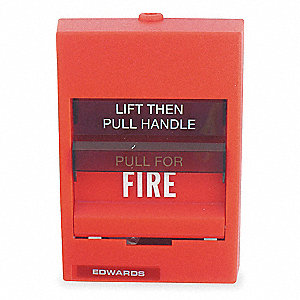 Fire Alarm Pull Station,Red,H 5 3/16 In