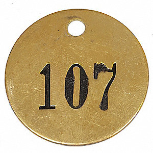 "Brass Numbered Tag, Brass, Round, 1-1/2"" Height, 1 EA"