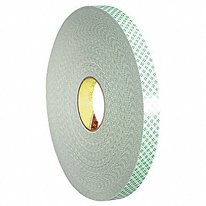 "1"" x 108 ft. Urethane Foam Double Sided Tape, 125 mil, Natural White, 1EA"