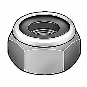"3/8""-16 Nylon Insert Lock Nut, Zinc Plated Finish, Grade 2 Steel, Right Hand, PK1500"