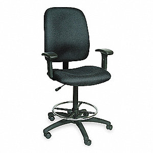 "Black Fabric Drafting Chair, 55-1/2"" Overall Height"
