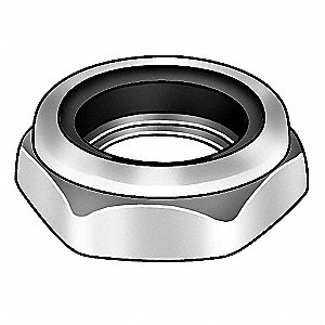 "7/8""-9 Nylon Insert Lock Nut, Zinc Plated Finish, Grade 2 Steel, Right Hand, IFI-100/107, PK450"