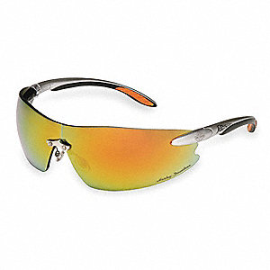 HD800 Scratch-Resistant Safety Glasses, Orange Mirror Lens Color