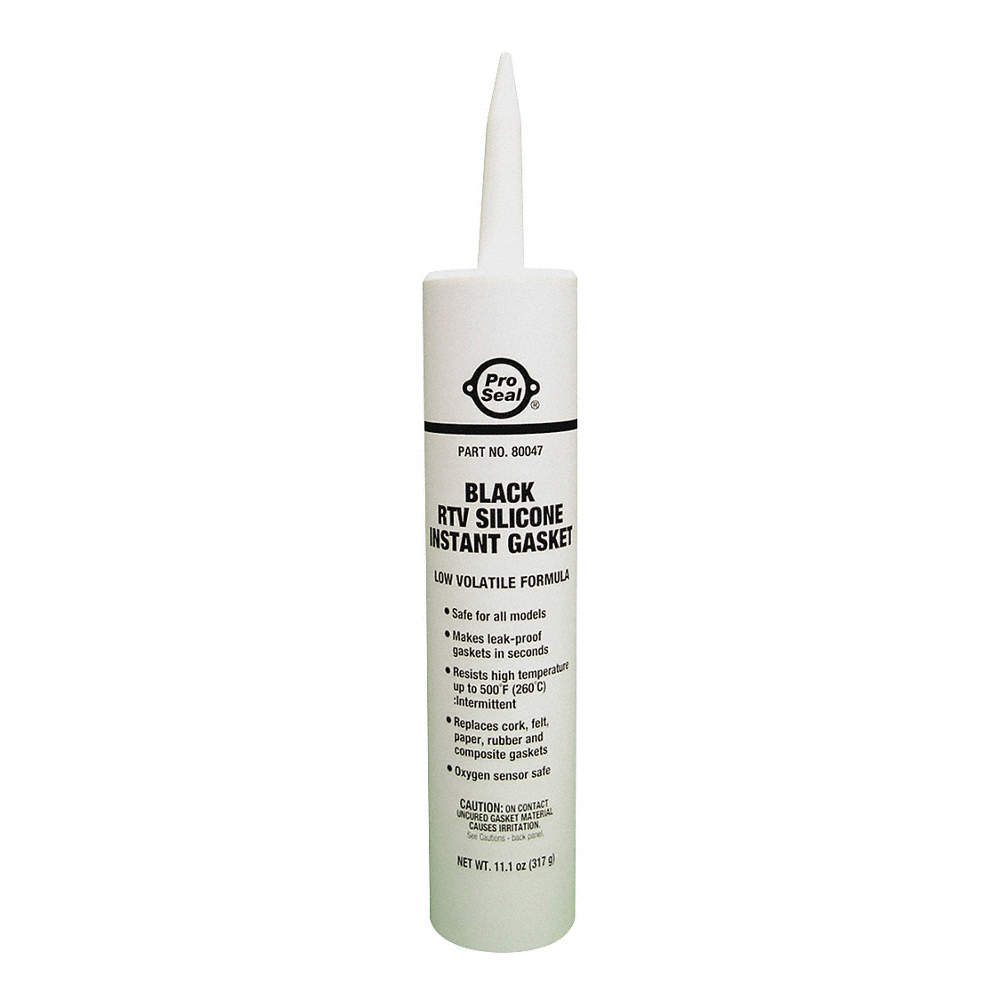 Oil-Resistant RTV Silicone Sealant, -75 to 500°F Temp  Range, Full Cure 24  hr , Black, 11 1 oz