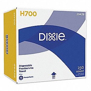 "DIXIE™ Hydroentangled Fiber Disposable Towels, 150 Ct. 12"" x 24"" Sheets, White"