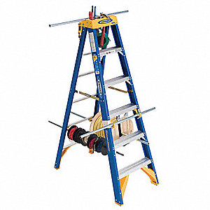 Stepladder,Fiberglass,6 ft. H,375 lb Cap