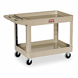 "45-1/4""L x 25-7/8""W Beige Utility Cart, 500 lb. Load Capacity, Number of Shelves: 2"