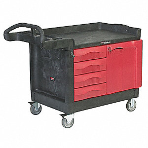 Black Trade Cart/Service Bench, 750 lb. Load Capacity, (2) Fixed, (2) Swivel with Brakes Caster Type