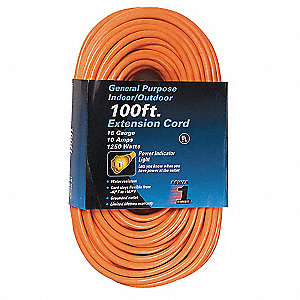 100 ft. Indoor, Outdoor Lighted Extension Cord; Max Amps: 10.0, Number of Outlets: 1, Orange