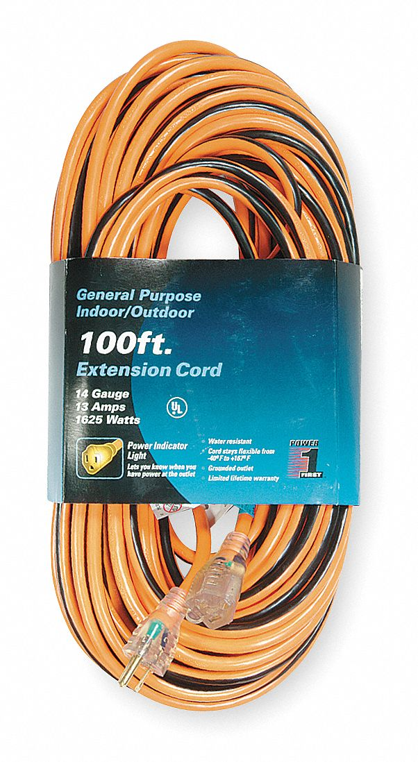 POWER FIRST 100 ft. Indoor, Outdoor Lighted Extension Cord; Max Amps ...