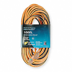 100 ft. Indoor, Outdoor Lighted Extension Cord; Max Amps: 13.0, Number of Outlets: 1, Orange with Bl
