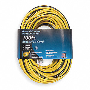 100 ft. Indoor/Outdoor 125V Lighted Extension Cord, 15 Max. Amps, Yellow with Black Stripe