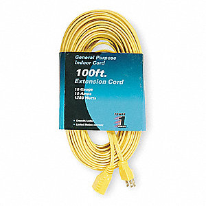 100 ft. Indoor Extension Cord&#x3b; Max Amps: 10, Number of Outlets: 1, Yellow