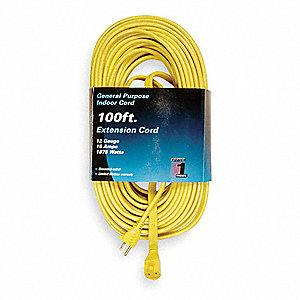 100 ft. Indoor 125V Extension Cord, 15 Max. Amps, Yellow
