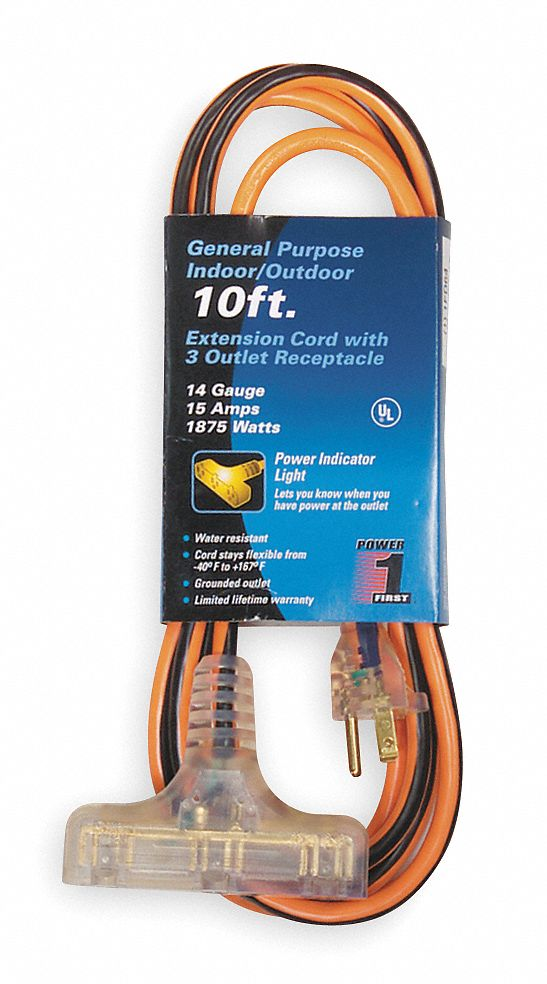 POWER FIRST 10 ft. Indoor, Outdoor Extension Cord; Max Amps: 15.0 ...