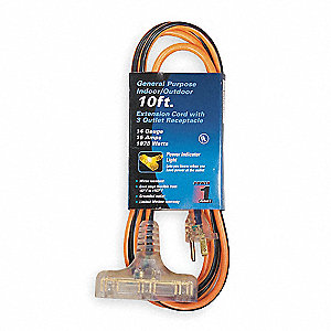 10 ft. Indoor/Outdoor 125V Extension Cord, 15 Max. Amps, Orange with Black Stripe