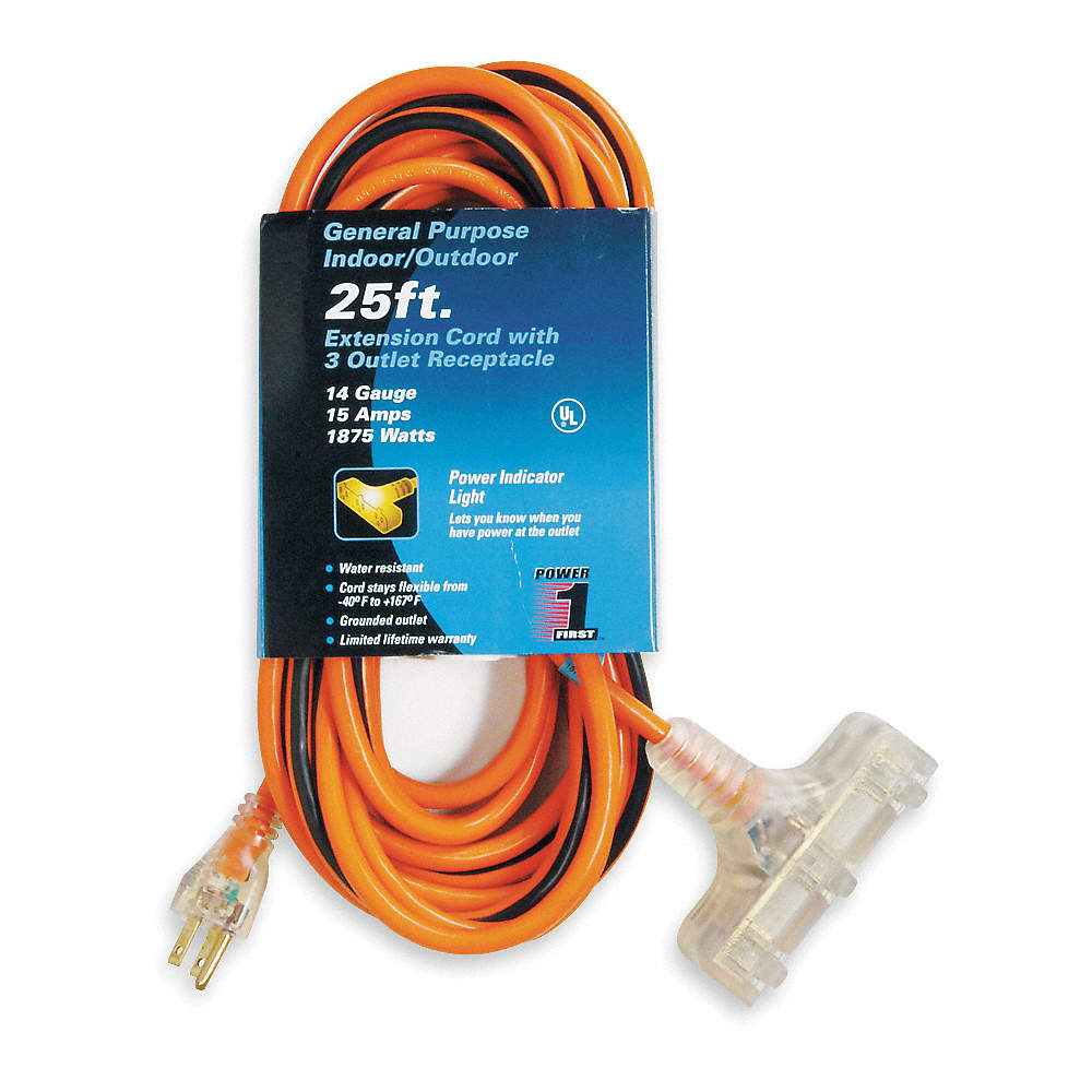 POWER FIRST 25 ft. Indoor, Outdoor Lighted Extension Cord; Max Amps ...