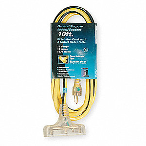 10 ft. Indoor, Outdoor 125V Extension Cord, 15 Max. Amps, Yellow with Black Stripe