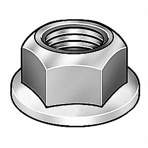 "1/2""-13 Self Locking Flange Nut - Serrated, Zinc Plated Finish, Grade 2 Steel, Right Hand"