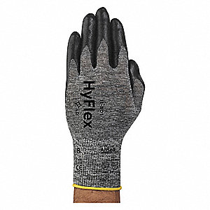 Coated Gloves,L,Black/Gray,Nitrile,PR