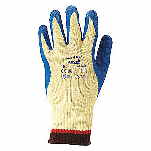 Natural Rubber Latex Cut Resistant Gloves, ANSI/ISEA Cut Level 2, Kevlar® Lining, Blue, Yellow, XL,