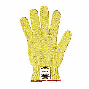 Uncoated Cut Resistant Gloves, ANSI/ISEA Cut Level 4, Kevlar® Lining, Yellow, L, PR 1
