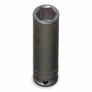 Impact Socket,1/4 In Dr,15mm,6 pt
