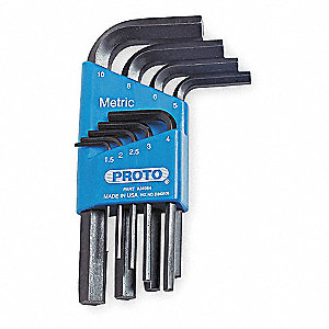 Short L-Shaped Metric Black Oxide Hex Key Set, Number of Pieces: 9