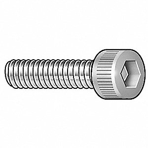 "#10-32 x 5/8"", Cylindrical, Socket Head Cap Screw with Patch, 18-8, Stainless Steel, Plain Finish, 2"