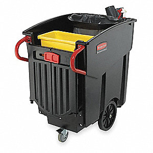 "Black Janitor Cart, 27-1/2""L x 52-1/2""W x 42-1/2""H, Number of Shelves: 0"