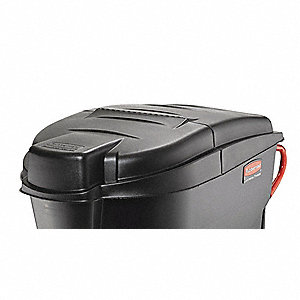 Trash Can Top,Dome,Hinged Closure,Black