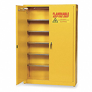 "43"" x 12"" x 65"" Galvanized Steel Aerosol Cabinet with Self-Closing Doors, Yellow"