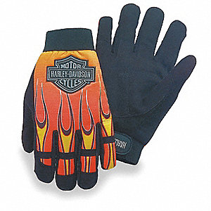General Utility Mechanics Gloves, Synthetic Suede Palm Material, Black/Orange/Yellow, L, PR 1