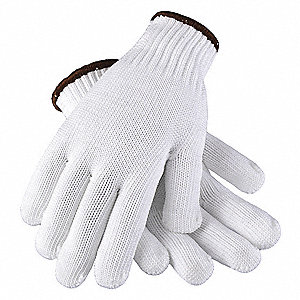White Knit Gloves, Polyester, Size S, 7 Gauge