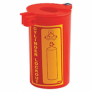 "Red Gas Cylinder Lockout, For Use With Neck Rings to 3-1/2"" Dia."