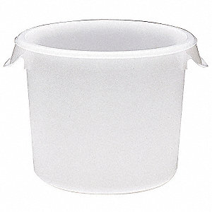 "10"" x 10"" x 10-5/8"" Polyethylene Round Storage Container, White"