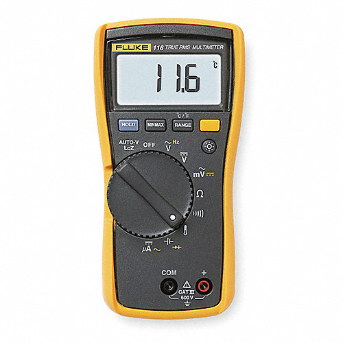 Multímetro Digital, 6000 Conteos, Precisión ±0.50% de la Lectura, + 2 Dígitos, TRMS, Amperes Máx. CA 600uA, Voltios Máx. CA 600