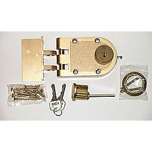"Bronze Auxiliary Lock, Jimmyproof Deadlock, For Door Thickness 1-3/8"" to 2-1/4"""