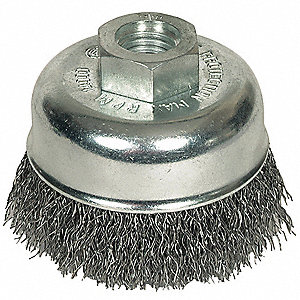 Crimped Cup Brush,2-3/4 Dia,0.014 Wire