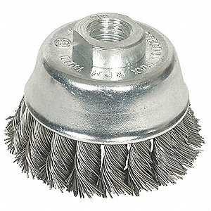 "2-3/4"" Knotted Wire Cup Brush, Arbor Hole Mounting, 0.020"" Wire Dia. 7/8"" Bristle Trim Length"