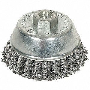 Knot Wire Cup Brush,5 In Dia,0.0230 Wire