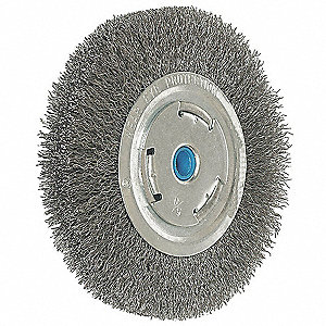 "Arbor Wire Wheel Brush, Crimped Wire, 6"" Brush Dia."