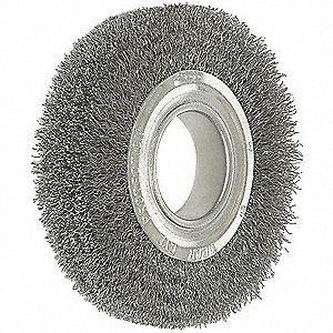 "8"" Crimped Wire Wheel Brush, Arbor Hole Mounting, 0.014"" Wire Dia., 1-3/4"" Bristle Trim Length, 1 EA"